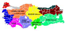 Halay šokio regionai