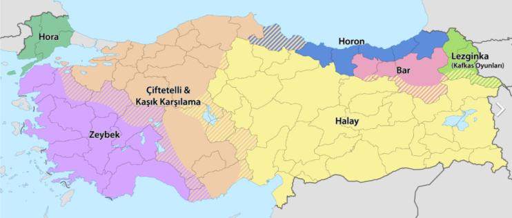 Turkiškų šokių regionai